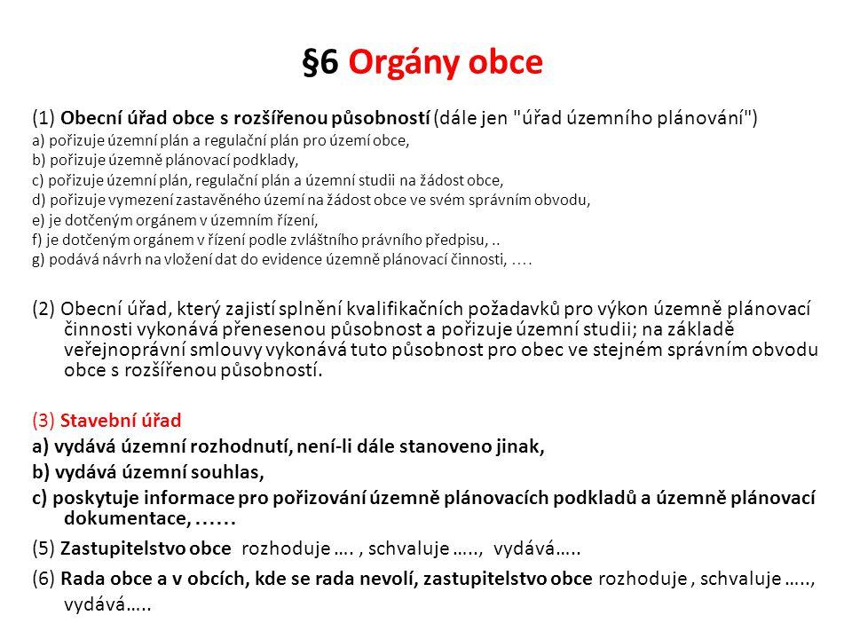 §6 Orgány obce (1) Obecní úřad obce s rozšířenou působností (dále jen