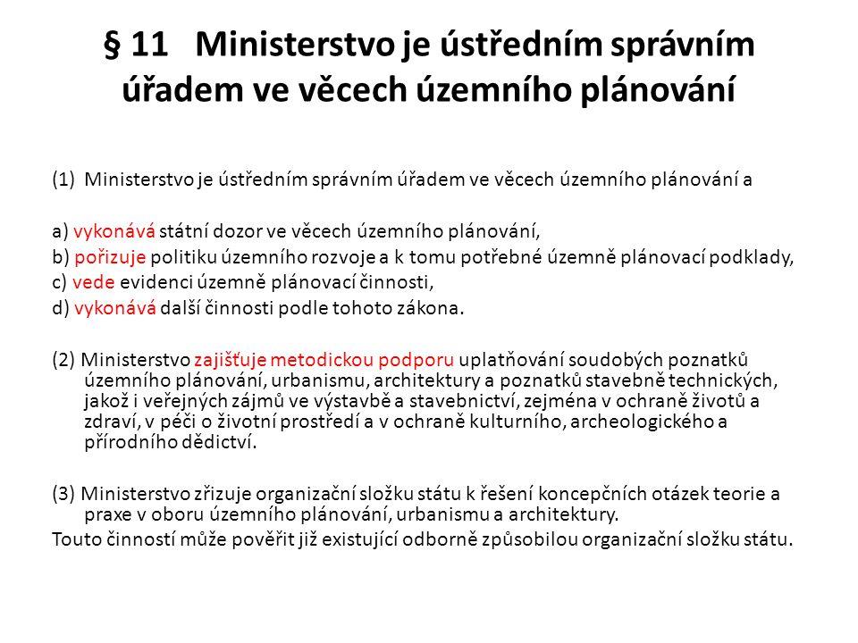 § 11 Ministerstvo je ústředním správním úřadem ve věcech územního plánování (1)Ministerstvo je ústředním správním úřadem ve věcech územního plánování