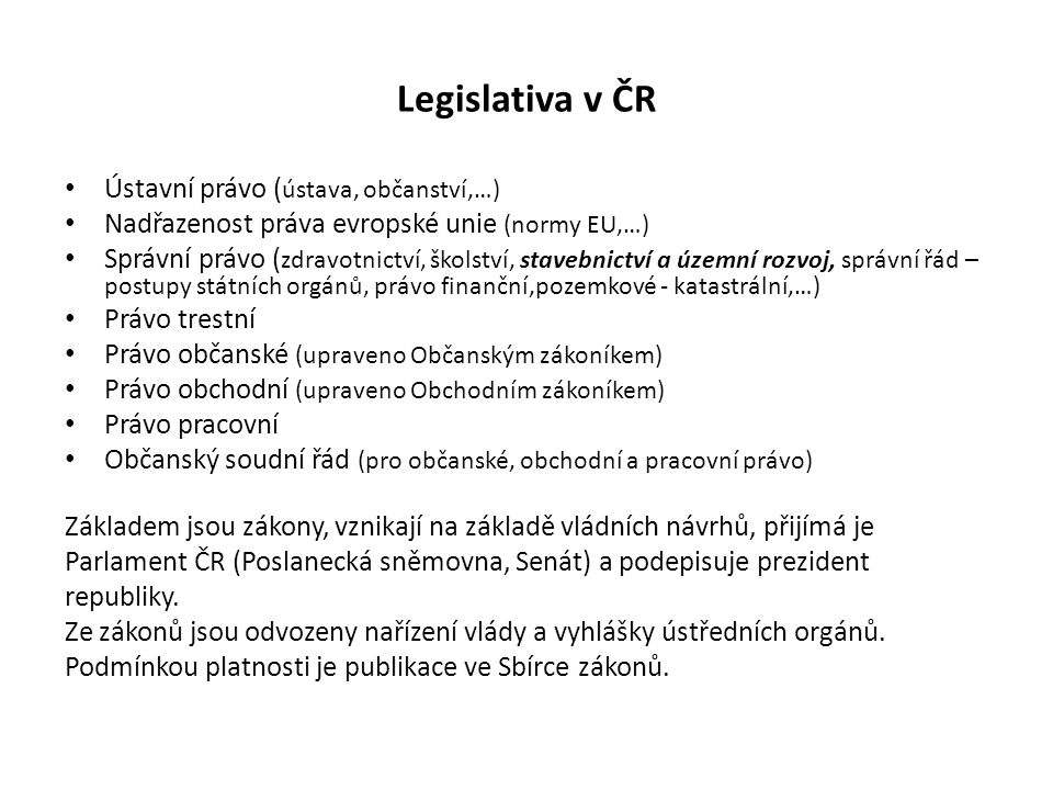 Orgány státní správy a samosprávy Orgány státní správy: Ústřední orgány vč.