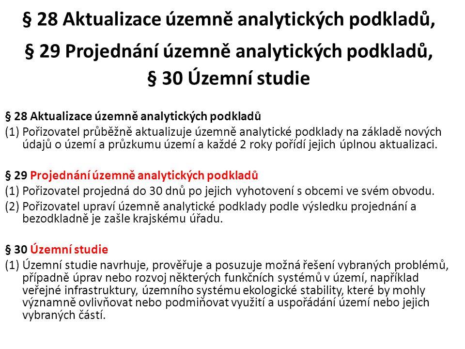 § 28 Aktualizace územně analytických podkladů, § 29 Projednání územně analytických podkladů, § 30 Územní studie § 28 Aktualizace územně analytických p