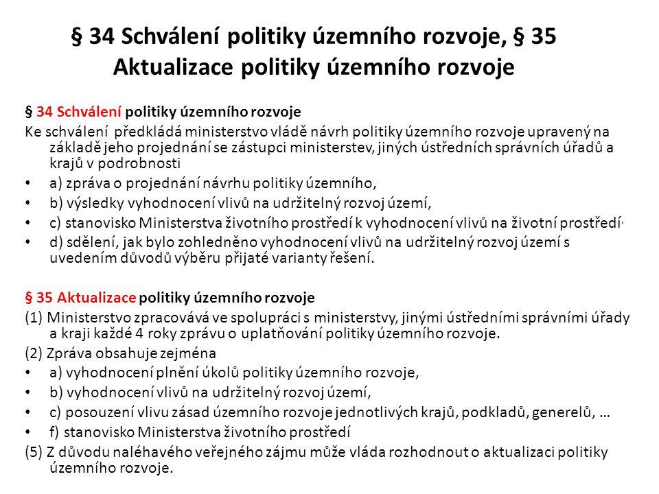 § 34 Schválení politiky územního rozvoje, § 35 Aktualizace politiky územního rozvoje § 34 Schválení politiky územního rozvoje Ke schválení předkládá m