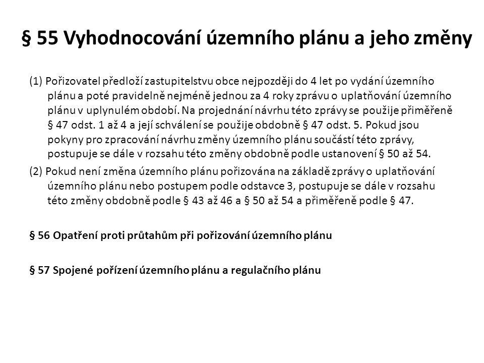 § 55 Vyhodnocování územního plánu a jeho změny (1) Pořizovatel předloží zastupitelstvu obce nejpozději do 4 let po vydání územního plánu a poté pravid