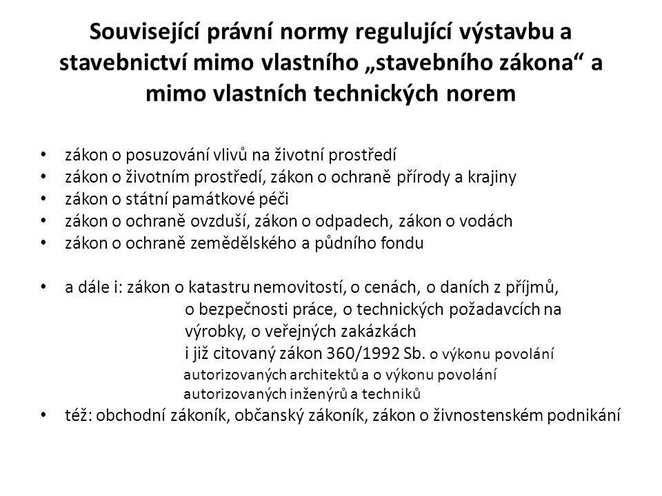 Prováděcí vyhlášky Vyhláška 503/2006 Sb., o podrobnější úpravě územního rozhodování, územního opatření a stavebního řádu ve znění Vyhlášky č.