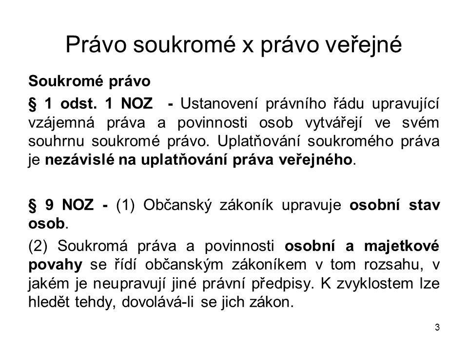 3 Právo soukromé x právo veřejné Soukromé právo § 1 odst.