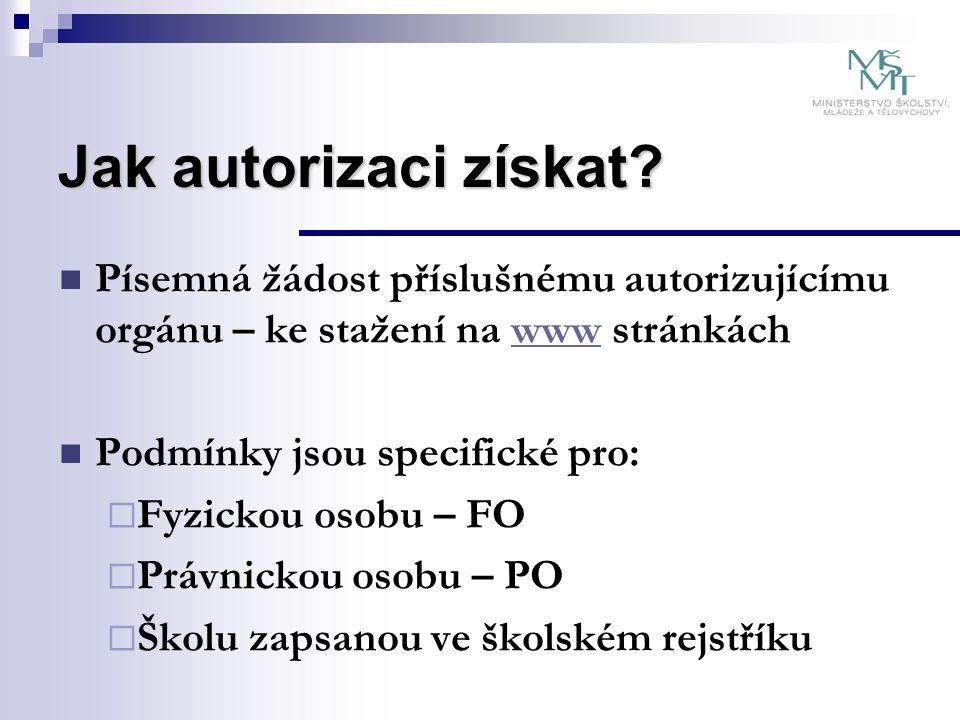 Jak autorizaci získat? Písemná žádost příslušnému autorizujícímu orgánu – ke stažení na www stránkáchwww Podmínky jsou specifické pro:  Fyzickou osob
