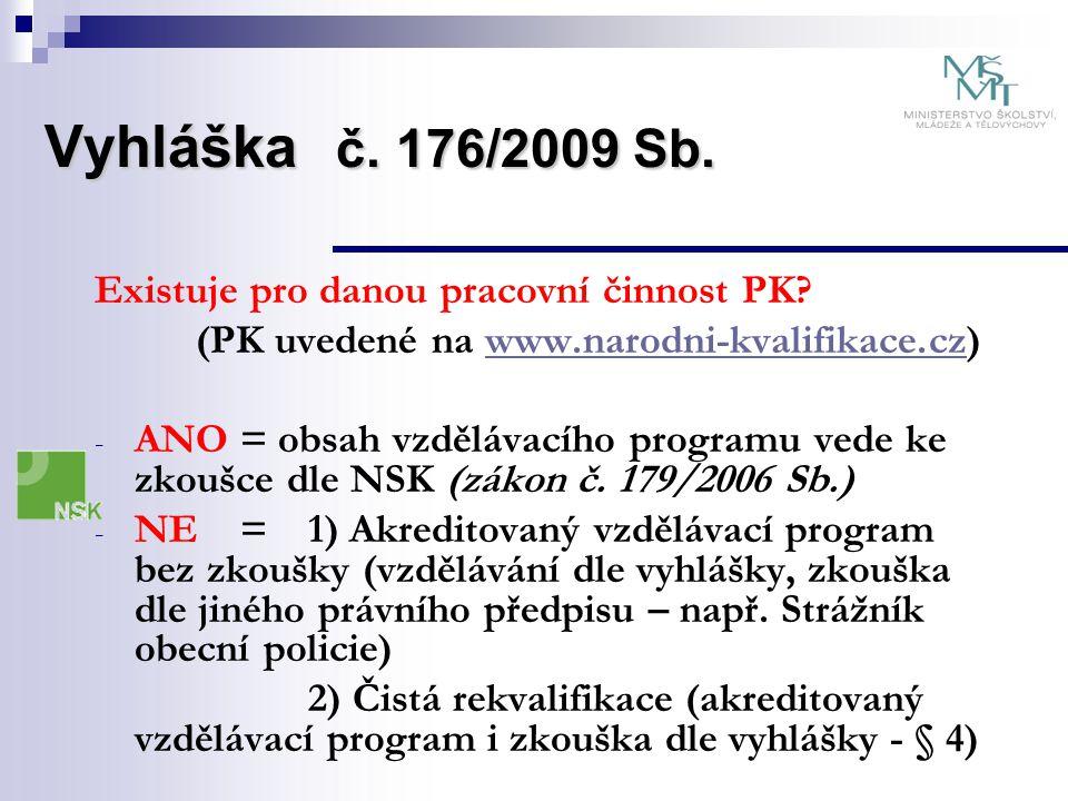 Vyhláška č. 176/2009 Sb. Existuje pro danou pracovní činnost PK? (PK uvedené na www.narodni-kvalifikace.cz)www.narodni-kvalifikace.cz - ANO = obsah vz