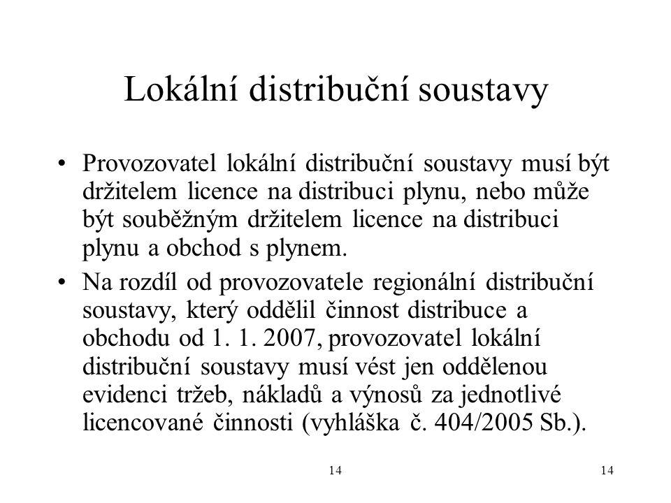 14 Lokální distribuční soustavy Provozovatel lokální distribuční soustavy musí být držitelem licence na distribuci plynu, nebo může být souběžným držitelem licence na distribuci plynu a obchod s plynem.