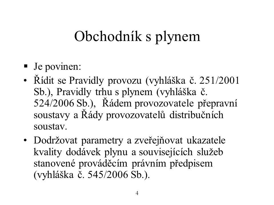 Obchodník s plynem  Je povinen: Řídit se Pravidly provozu (vyhláška č.