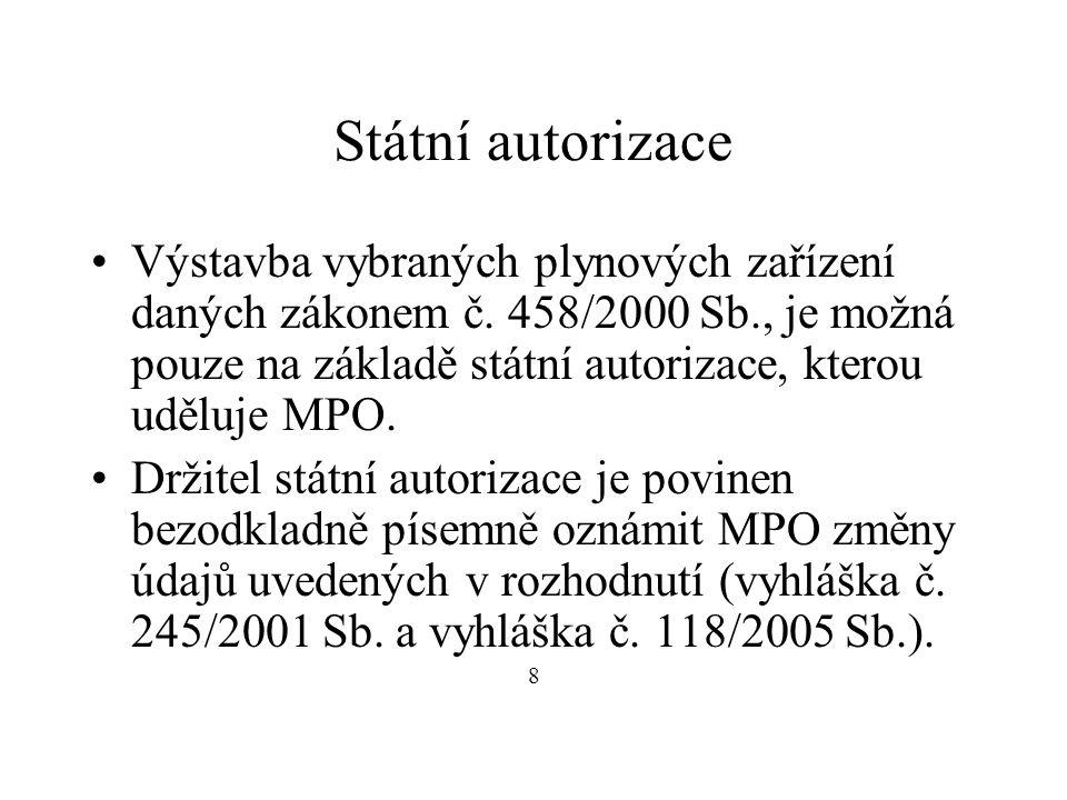 Státní autorizace Výstavba vybraných plynových zařízení daných zákonem č.