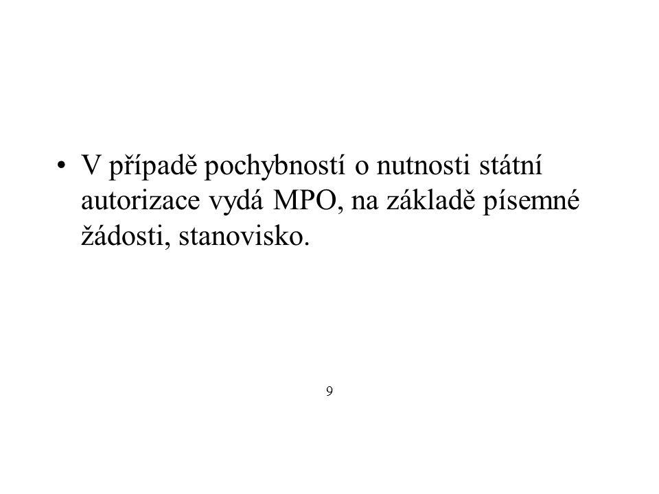 V případě pochybností o nutnosti státní autorizace vydá MPO, na základě písemné žádosti, stanovisko.