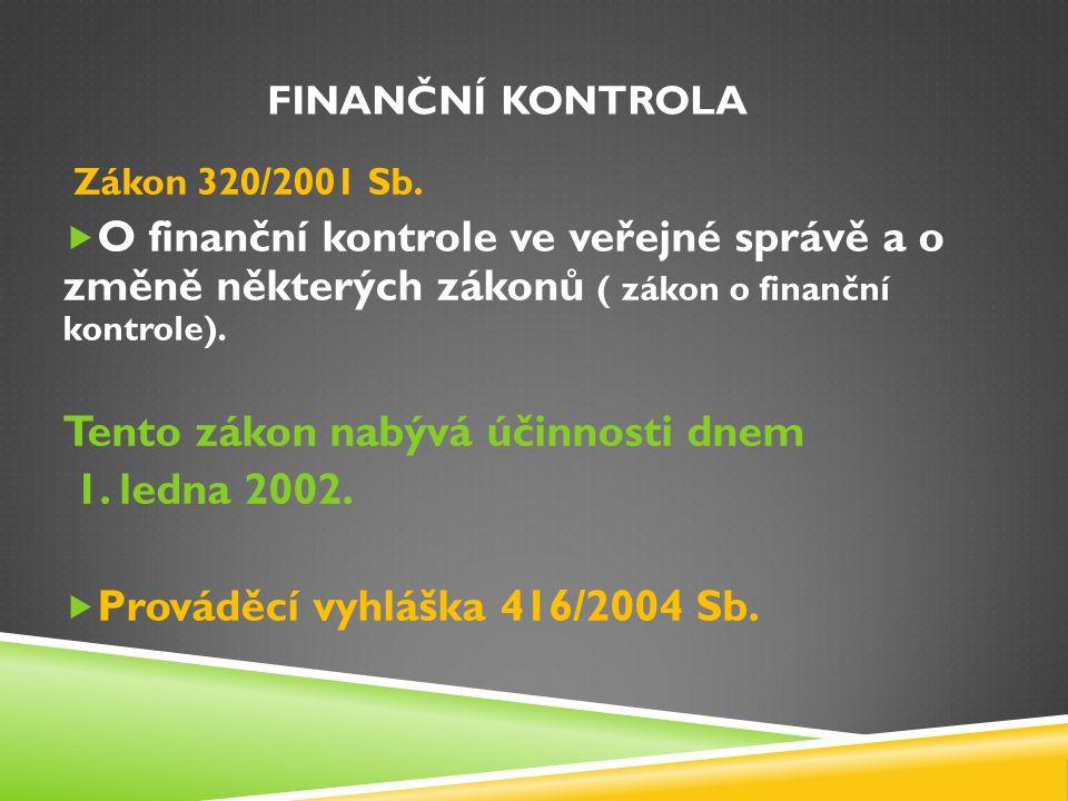 FINANČNÍ KONTROLA Zákon 320/2001 Sb.  O finanční kontrole ve veřejné správě a o změně některých zákonů ( zákon o finanční kontrole). Tento zákon nabý