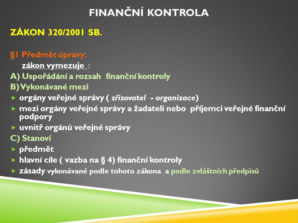 FINANČNÍ KONTROLA ZÁKON 320/2001 SB. §1 Předmět úpravy: zákon vymezuje : A) Uspořádání a rozsah finanční kontroly B) Vykonávané mezi  orgány veřejné