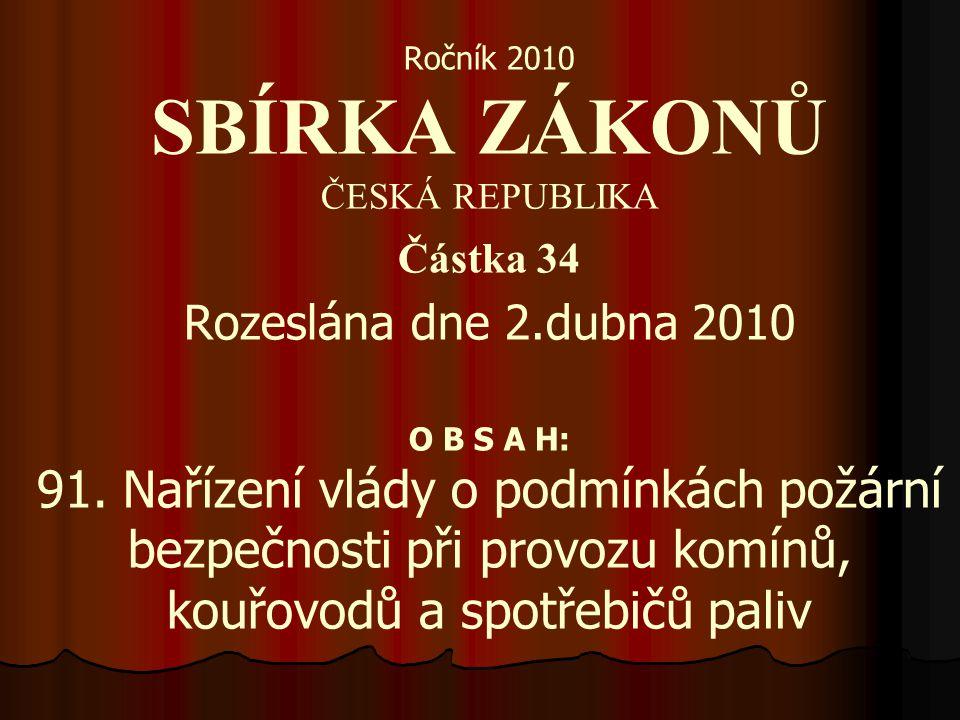 Ročník 2010 SBÍRKA ZÁKONŮ ČESKÁ REPUBLIKA Částka 34 Rozeslána dne 2.dubna 2010 O B S A H: 91. Nařízení vlády o podmínkách požární bezpečnosti při prov