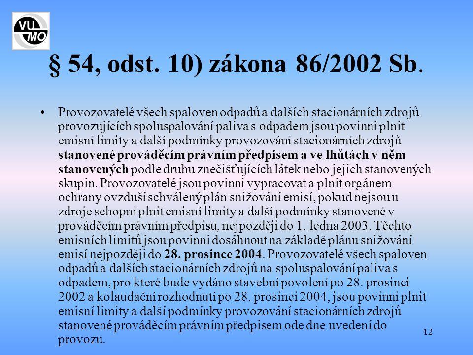 12 § 54, odst. 10) zákona 86/2002 Sb. Provozovatelé všech spaloven odpadů a dalších stacionárních zdrojů provozujících spoluspalování paliva s odpadem