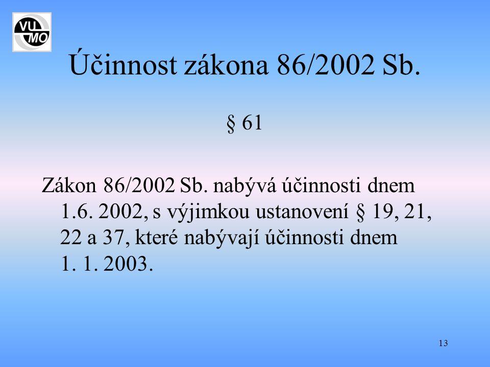 13 Účinnost zákona 86/2002 Sb. § 61 Zákon 86/2002 Sb. nabývá účinnosti dnem 1.6. 2002, s výjimkou ustanovení § 19, 21, 22 a 37, které nabývají účinnos