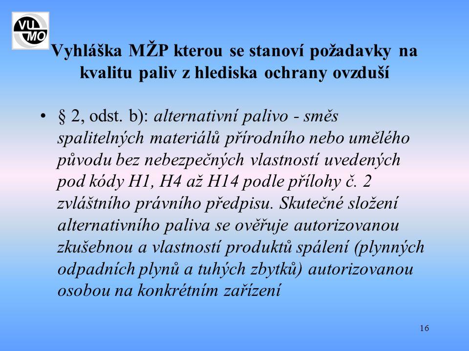16 Vyhláška MŽP kterou se stanoví požadavky na kvalitu paliv z hlediska ochrany ovzduší § 2, odst. b): alternativní palivo - směs spalitelných materiá