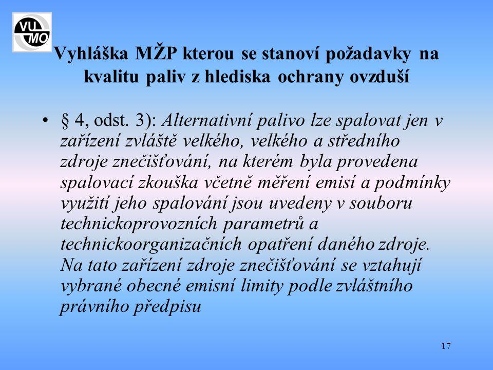17 Vyhláška MŽP kterou se stanoví požadavky na kvalitu paliv z hlediska ochrany ovzduší § 4, odst. 3): Alternativní palivo lze spalovat jen v zařízení