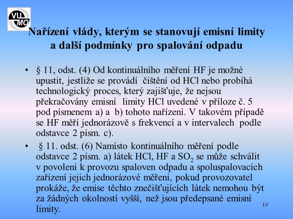 19 Nařízení vlády, kterým se stanovují emisní limity a další podmínky pro spalování odpadu § 11, odst. (4) Od kontinuálního měření HF je možné upustit