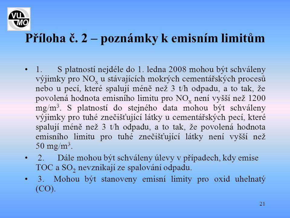 21 Příloha č. 2 – poznámky k emisním limitům 1. S platností nejdéle do 1. ledna 2008 mohou být schváleny výjimky pro NO x u stávajících mokrých cement