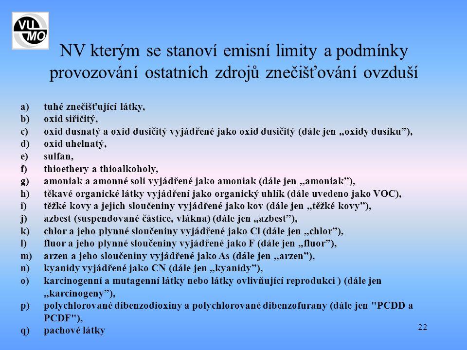 22 NV kterým se stanoví emisní limity a podmínky provozování ostatních zdrojů znečišťování ovzduší a)tuhé znečišťující látky, b)oxid siřičitý, c)oxid