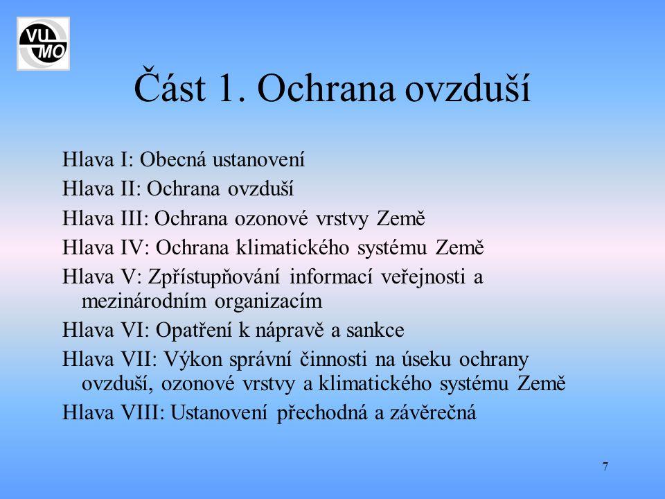 7 Část 1. Ochrana ovzduší Hlava I: Obecná ustanovení Hlava II: Ochrana ovzduší Hlava III: Ochrana ozonové vrstvy Země Hlava IV: Ochrana klimatického s