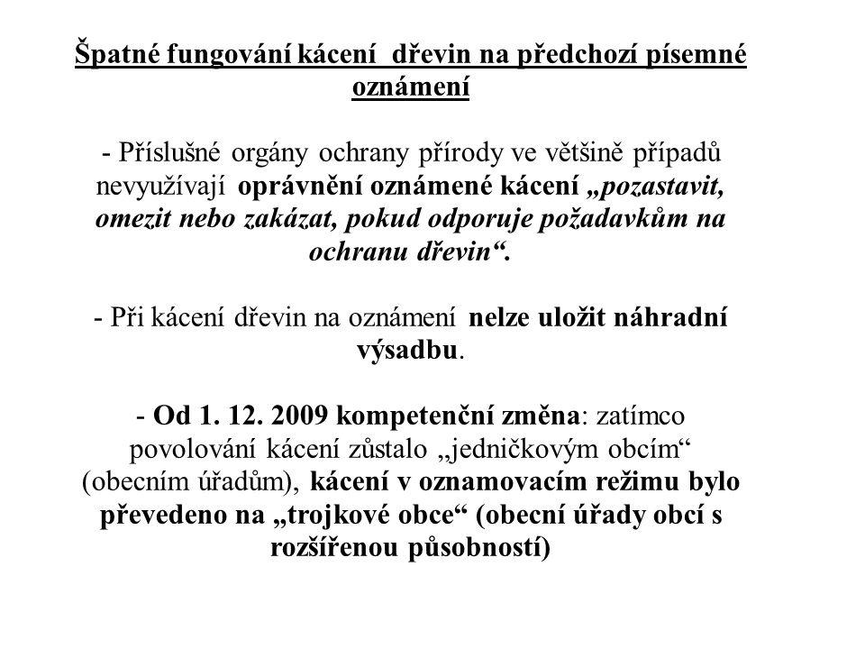 Špatné fungování kácení dřevin na předchozí písemné oznámení - Příslušné orgány ochrany přírody ve většině případů nevyužívají oprávnění oznámené káce