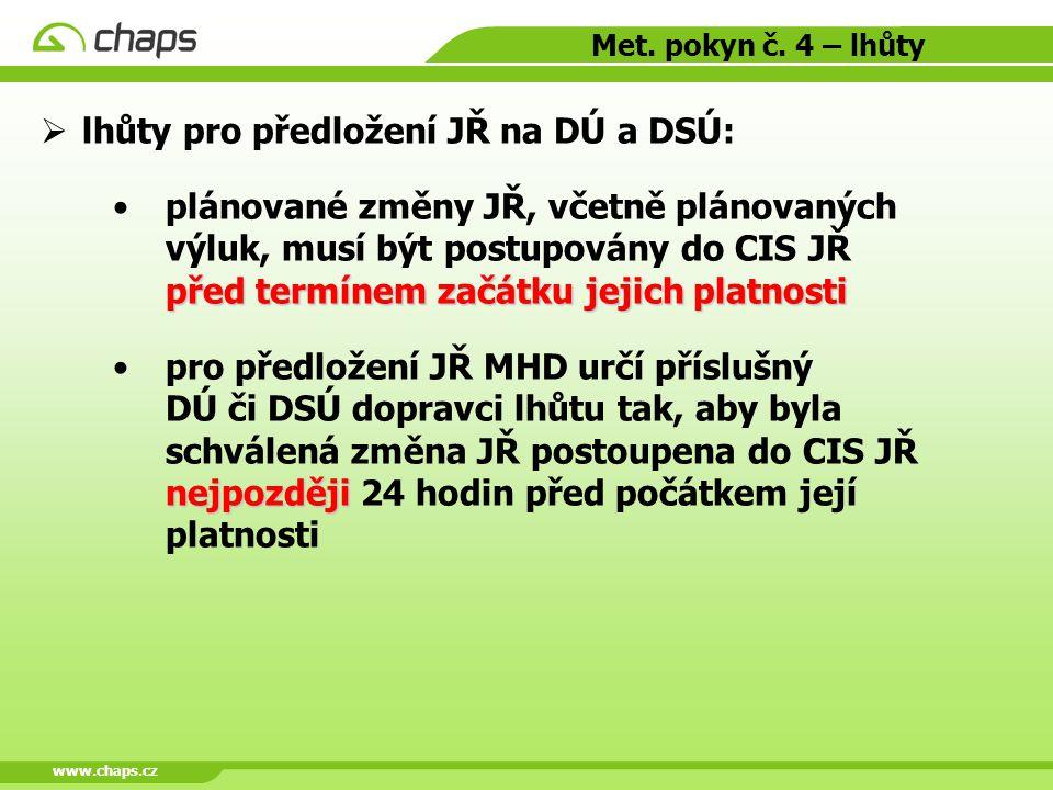 www.chaps.cz Met. pokyn č. 4 – lhůty  lhůty pro předložení JŘ na DÚ a DSÚ: před termínem začátku jejich platnostiplánované změny JŘ, včetně plánovaný