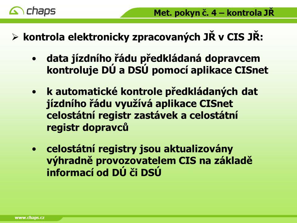 www.chaps.cz Met. pokyn č. 4 – kontrola JŘ  kontrola elektronicky zpracovaných JŘ v CIS JŘ: data jízdního řádu předkládaná dopravcem kontroluje DÚ a