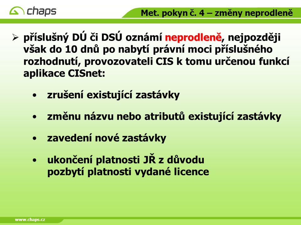 www.chaps.cz Met. pokyn č. 4 – změny neprodleně neprodleně  příslušný DÚ či DSÚ oznámí neprodleně, nejpozději však do 10 dnů po nabytí právní moci př