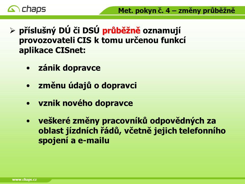 www.chaps.cz Met. pokyn č. 4 – změny průběžně průběžně  příslušný DÚ či DSÚ průběžně oznamují provozovateli CIS k tomu určenou funkcí aplikace CISnet