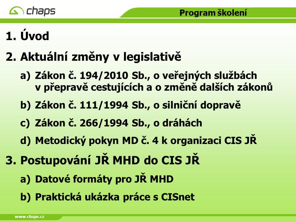 www.chaps.cz Program školení 1.Úvod 2.Aktuální změny v legislativě a)Zákon č. 194/2010 Sb., o veřejných službách v přepravě cestujících a o změně dalš