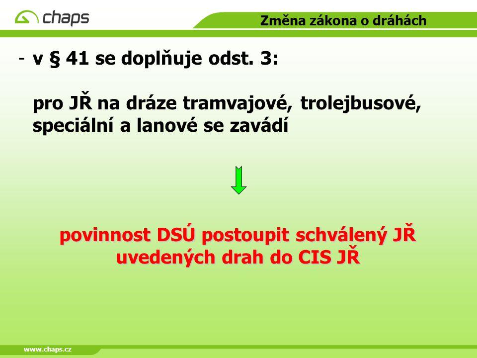 www.chaps.cz Změna zákona o dráhách -v § 41 se doplňuje odst. 3: pro JŘ na dráze tramvajové, trolejbusové, speciální a lanové se zavádí povinnost DSÚ