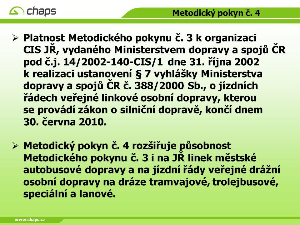 www.chaps.cz Metodický pokyn č. 4  Platnost Metodického pokynu č. 3 k organizaci CIS JŘ, vydaného Ministerstvem dopravy a spojů ČR pod č.j. 14/2002-1