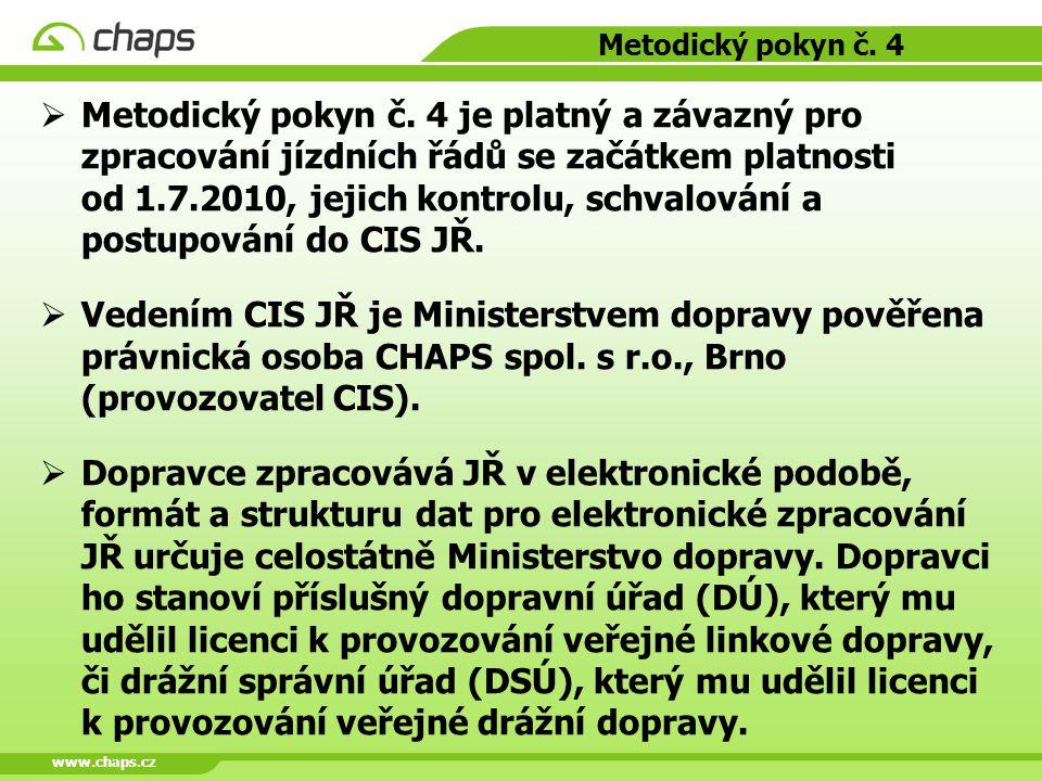 www.chaps.cz Metodický pokyn č. 4  Metodický pokyn č. 4 je platný a závazný pro zpracování jízdních řádů se začátkem platnosti od 1.7.2010, jejich ko