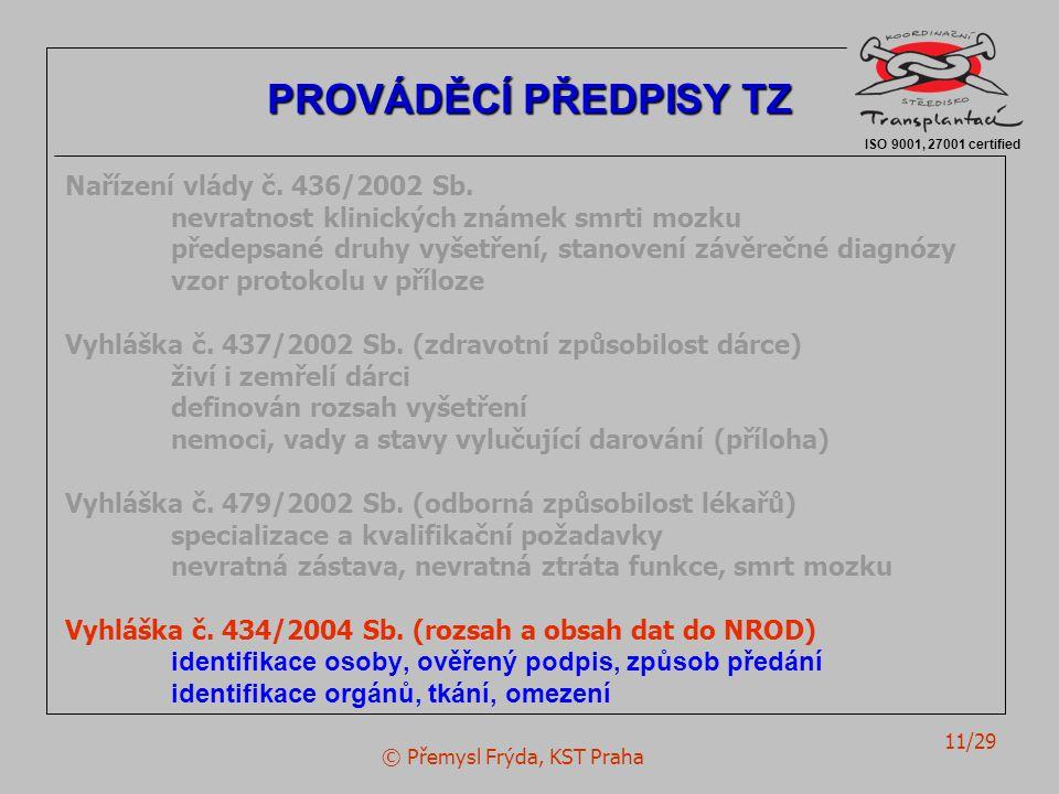 © Přemysl Frýda, KST Praha 11/29 Nařízení vlády č. 436/2002 Sb. nevratnost klinických známek smrti mozku předepsané druhy vyšetření, stanovení závěreč