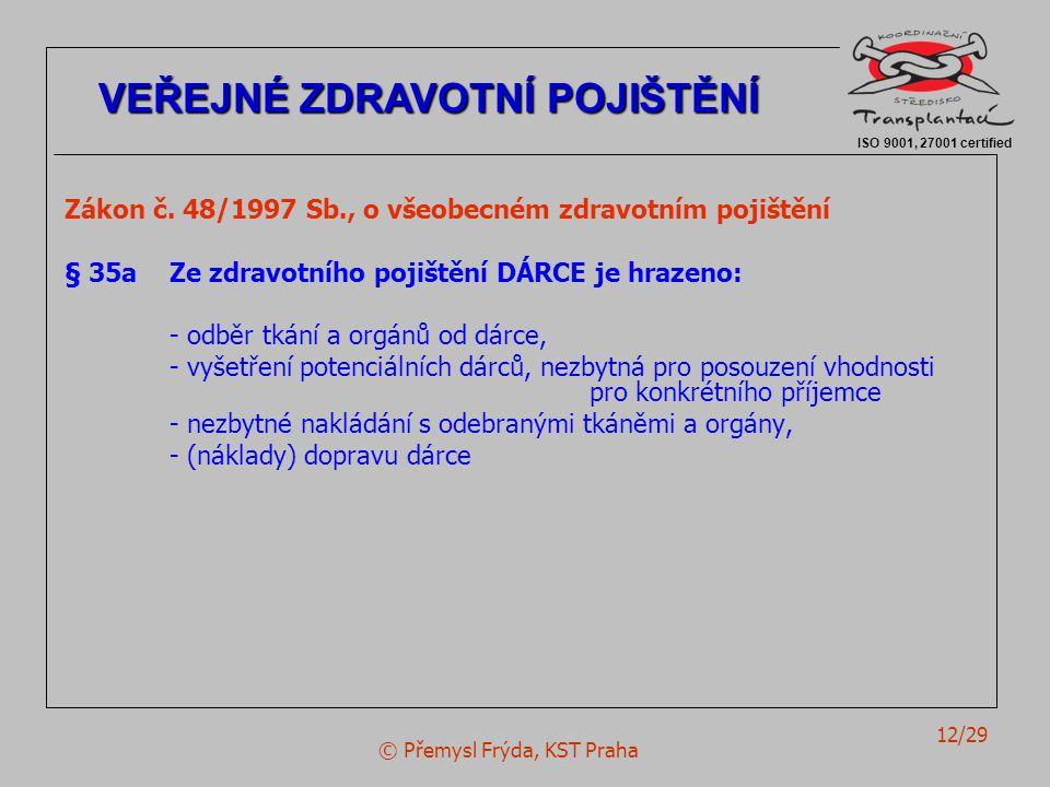 © Přemysl Frýda, KST Praha 12/29 Zákon č. 48/1997 Sb., o všeobecném zdravotním pojištění § 35aZe zdravotního pojištění DÁRCE je hrazeno: - odběr tkání