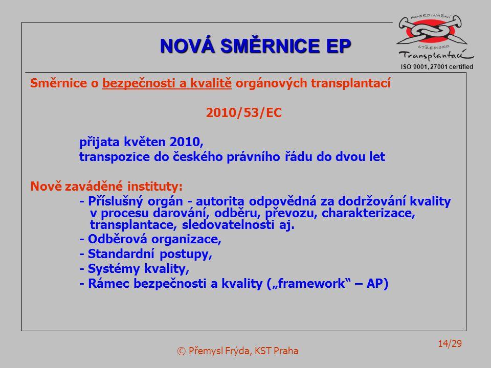 © Přemysl Frýda, KST Praha 14/29 Směrnice o bezpečnosti a kvalitě orgánových transplantací 2010/53/EC přijata květen 2010, transpozice do českého práv