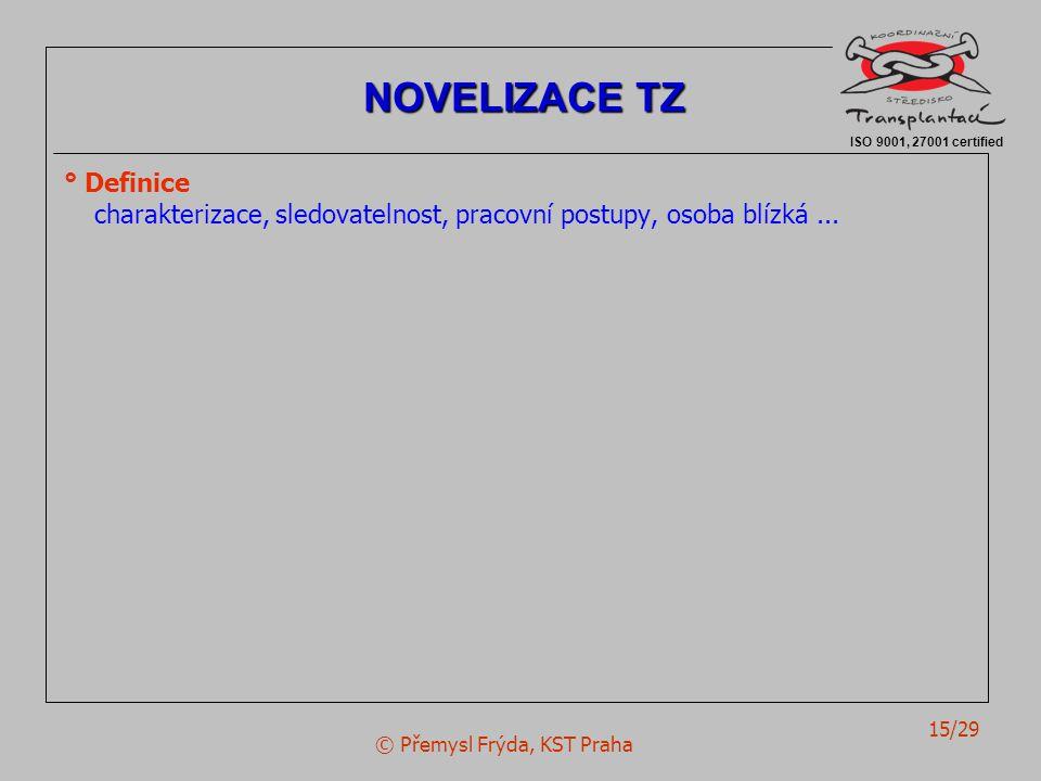 © Přemysl Frýda, KST Praha 15/29 ° Definice charakterizace, sledovatelnost, pracovní postupy, osoba blízká... ISO 9001, 27001 certified NOVELIZACE TZ