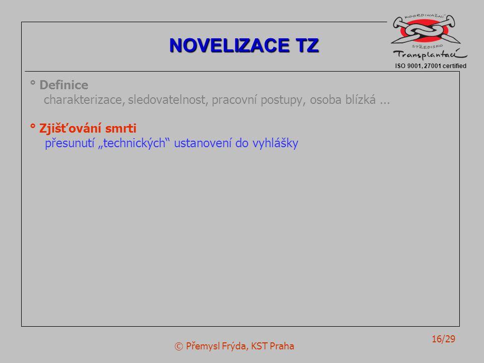 """© Přemysl Frýda, KST Praha 16/29 ° Definice charakterizace, sledovatelnost, pracovní postupy, osoba blízká... ° Zjišťování smrti přesunutí """"technickýc"""