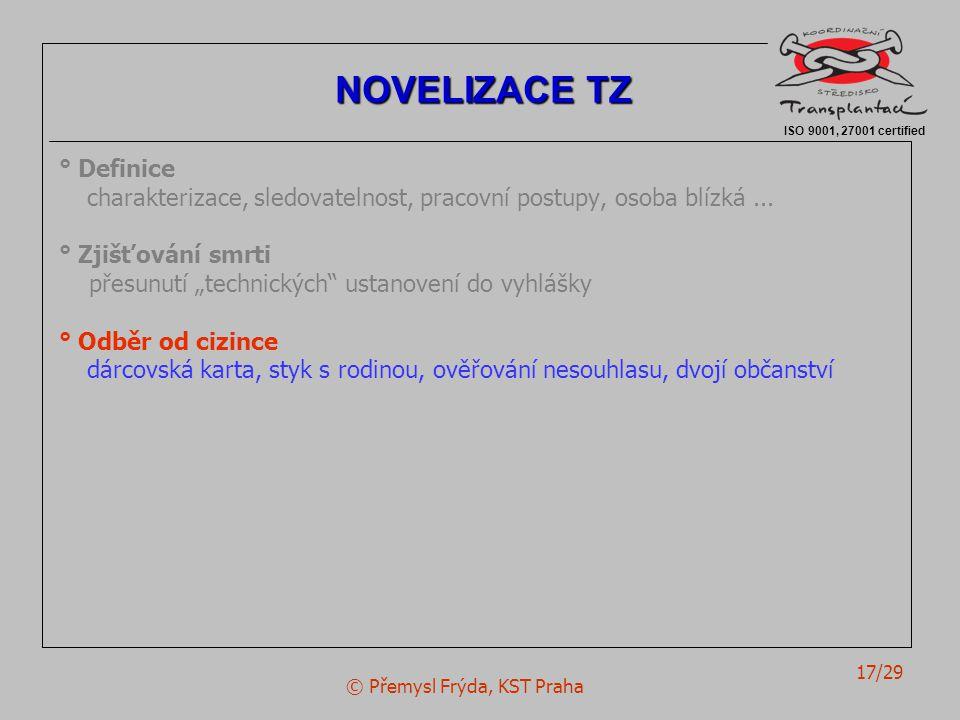 """© Přemysl Frýda, KST Praha 17/29 ° Definice charakterizace, sledovatelnost, pracovní postupy, osoba blízká... ° Zjišťování smrti přesunutí """"technickýc"""