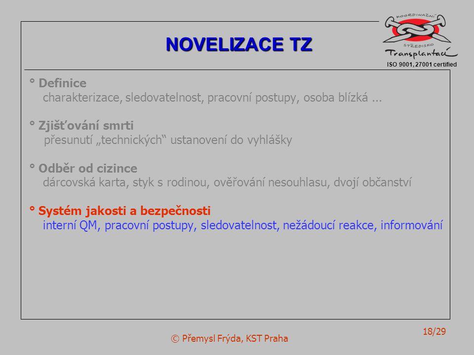 """© Přemysl Frýda, KST Praha 18/29 ° Definice charakterizace, sledovatelnost, pracovní postupy, osoba blízká... ° Zjišťování smrti přesunutí """"technickýc"""
