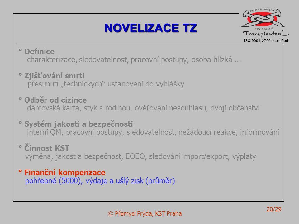 © Přemysl Frýda, KST Praha 20/29 ° Definice charakterizace, sledovatelnost, pracovní postupy, osoba blízká...