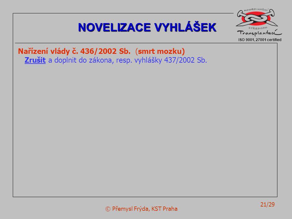 © Přemysl Frýda, KST Praha 21/29 Nařízení vlády č. 436/2002 Sb. (smrt mozku) Zrušit a doplnit do zákona, resp. vyhlášky 437/2002 Sb. ISO 9001, 27001 c