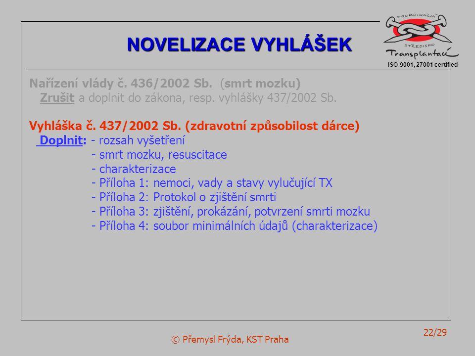 © Přemysl Frýda, KST Praha 22/29 Nařízení vlády č.