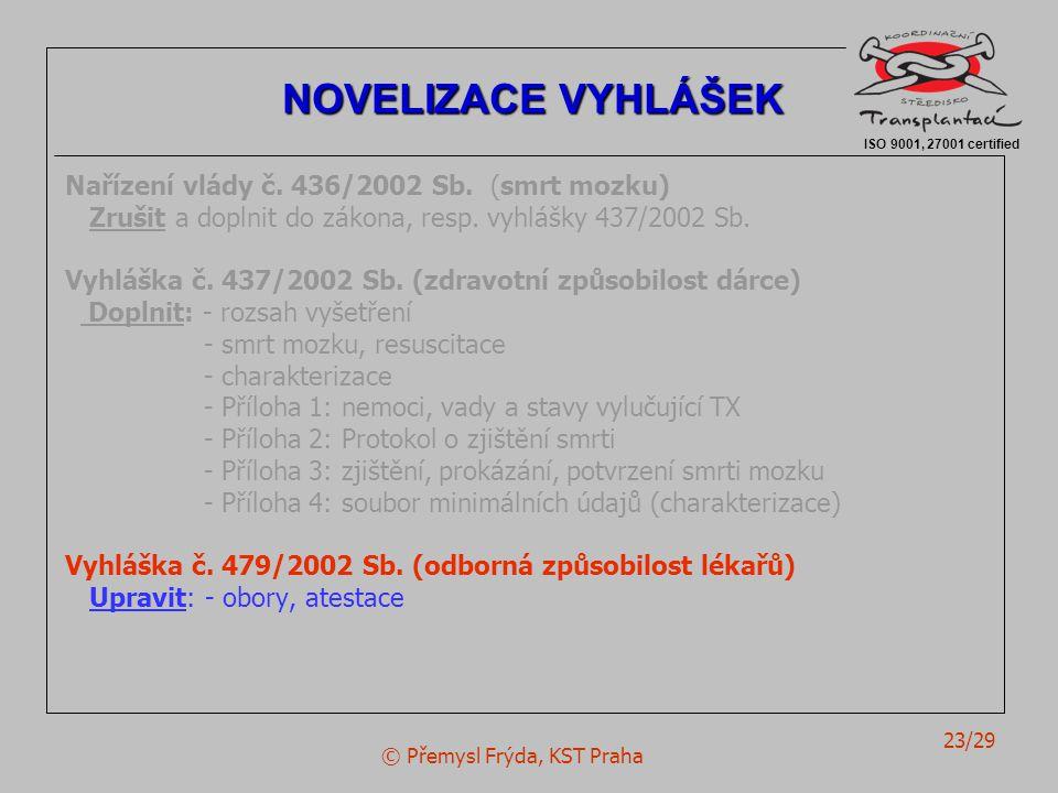 © Přemysl Frýda, KST Praha 23/29 Nařízení vlády č. 436/2002 Sb. (smrt mozku) Zrušit a doplnit do zákona, resp. vyhlášky 437/2002 Sb. Vyhláška č. 437/2