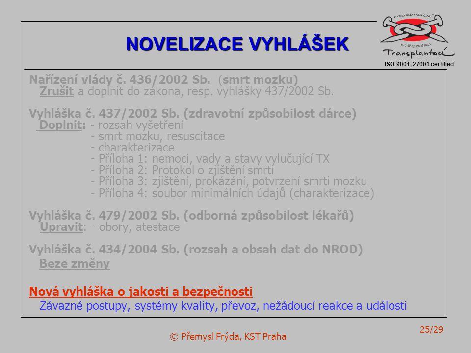 © Přemysl Frýda, KST Praha 25/29 Nařízení vlády č.
