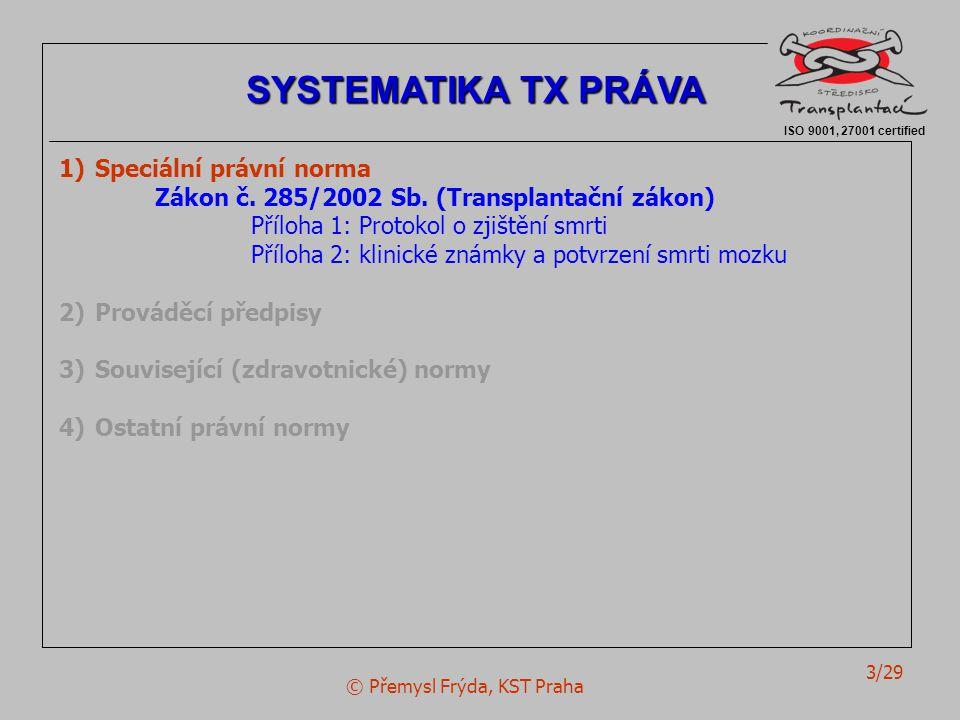 © Přemysl Frýda, KST Praha 3/29 ISO 9001, 27001 certified SYSTEMATIKA TX PRÁVA 1)Speciální právní norma Zákon č. 285/2002 Sb. (Transplantační zákon) P