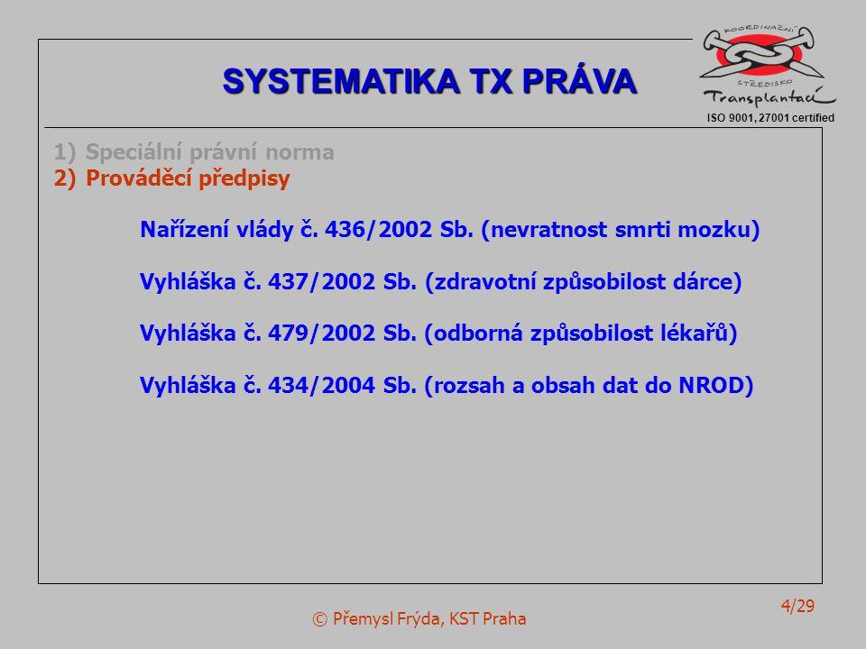© Přemysl Frýda, KST Praha 5/29 ISO 9001, 27001 certified SYSTEMATIKA TX PRÁVA 1)Speciální právní norma 2)Prováděcí předpisy 3)Související (zdravotnické) normy ° Zákon č.