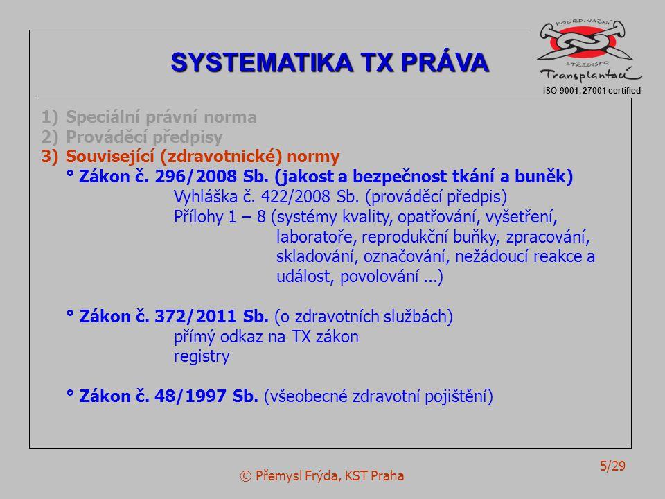 © Přemysl Frýda, KST Praha 6/29 ISO 9001, 27001 certified SYSTEMATIKA TX PRÁVA 1)Speciální právní norma 2)Prováděcí předpisy 3)Související (zdravotnické) normy 4)Ostatní právní normy Úmluva o lidské důstojnosti a biomedicíně (info.