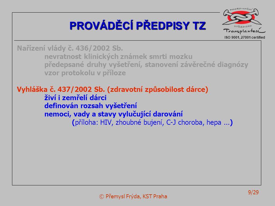 © Přemysl Frýda, KST Praha 9/29 Nařízení vlády č. 436/2002 Sb. nevratnost klinických známek smrti mozku předepsané druhy vyšetření, stanovení závěrečn